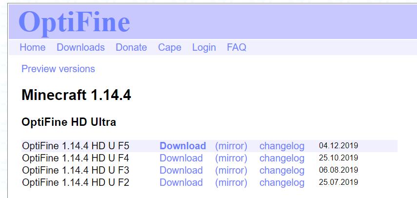 OptiFine.netのダウンロードページ (2020年7月4日時点の情報)