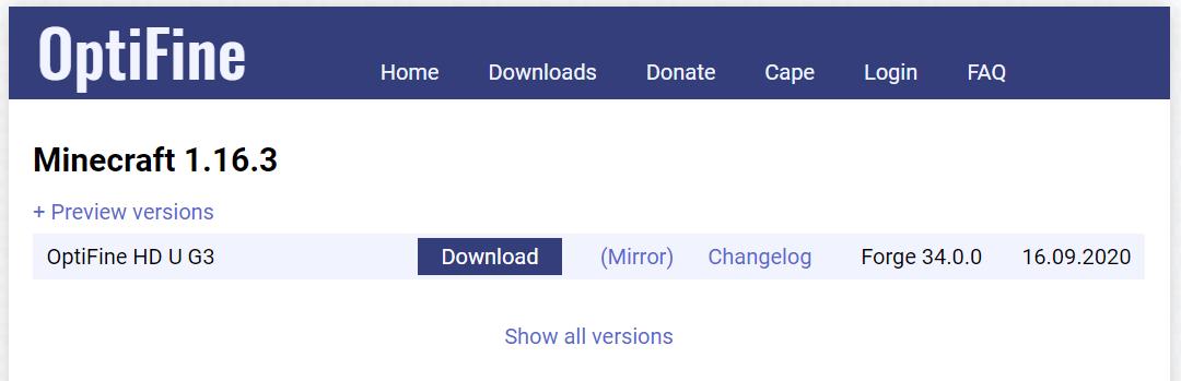 OptiFine ダウンロードページ (2020年10月10日時点)