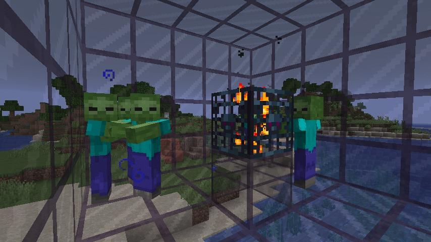 Tinted Glassの空間にゾンビスポナーを設置(暗視ポーション使用)