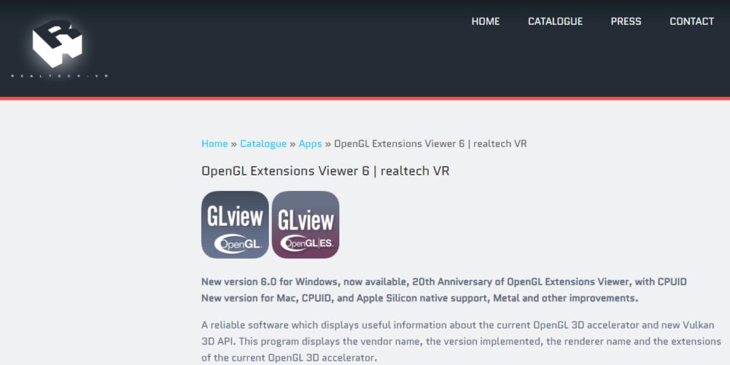 OpenGL Extensions Viewerダウンロードページ